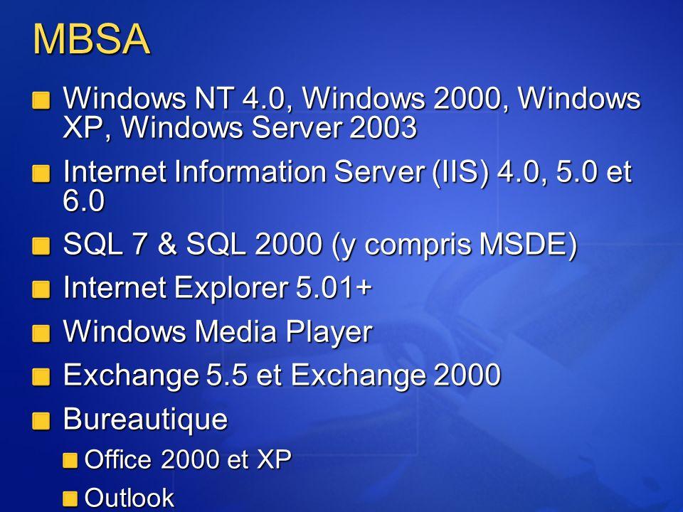 MBSA Windows NT 4.0, Windows 2000, Windows XP, Windows Server 2003