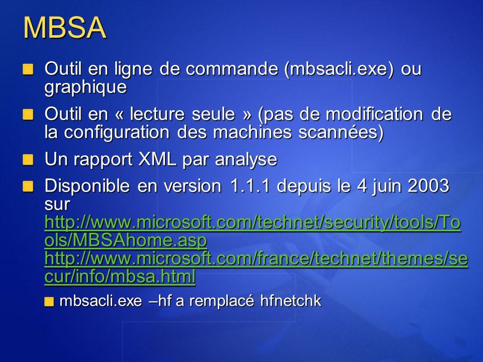 MBSA Outil en ligne de commande (mbsacli.exe) ou graphique