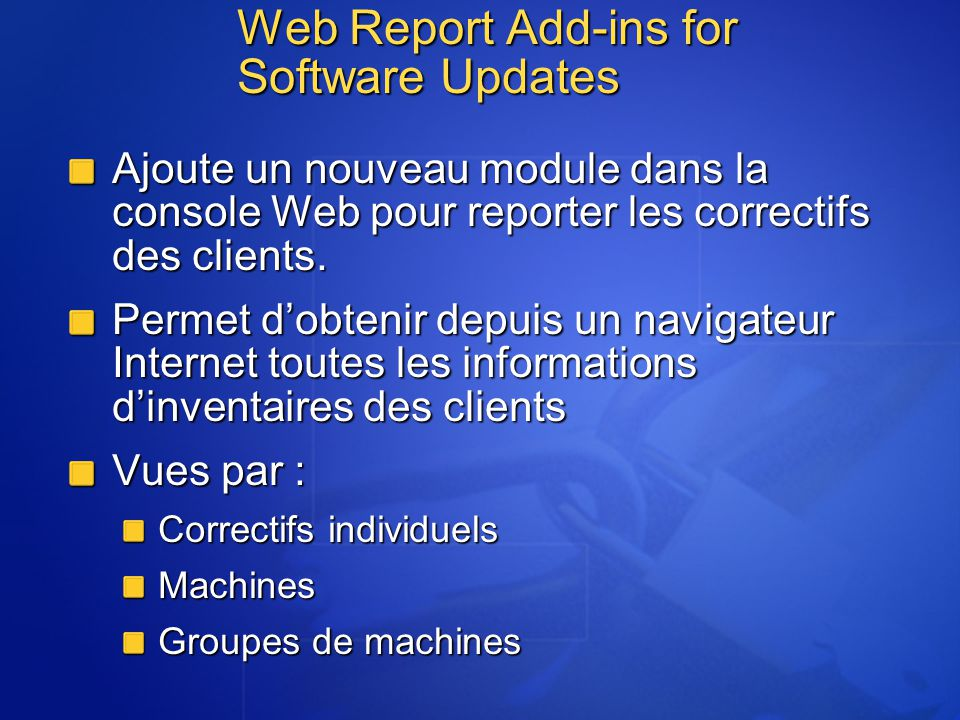 Web Report Add-ins for Software Updates