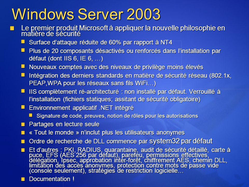 Windows Server 2003 Le premier produit Microsoft à appliquer la nouvelle philosophie en matière de sécurité.