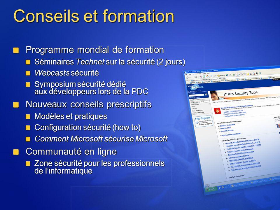 Conseils et formation Programme mondial de formation