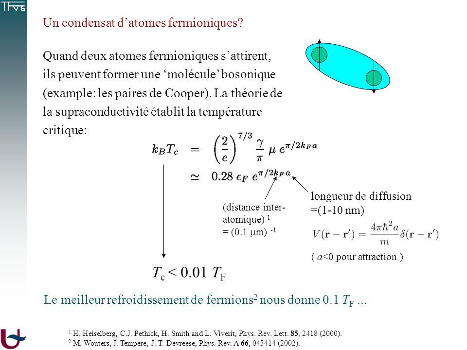 Tc < 0.01 TF Un condensat d'atomes fermioniques