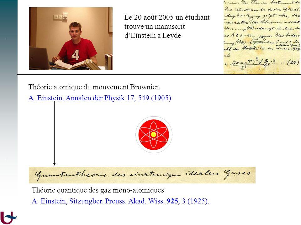 Le 20 août 2005 un étudiant trouve un manuscrit. d'Einstein à Leyde. Théorie atomique du mouvement Brownien.