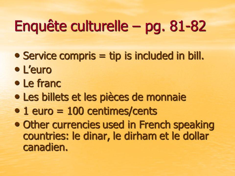 Enquête culturelle – pg. 81-82