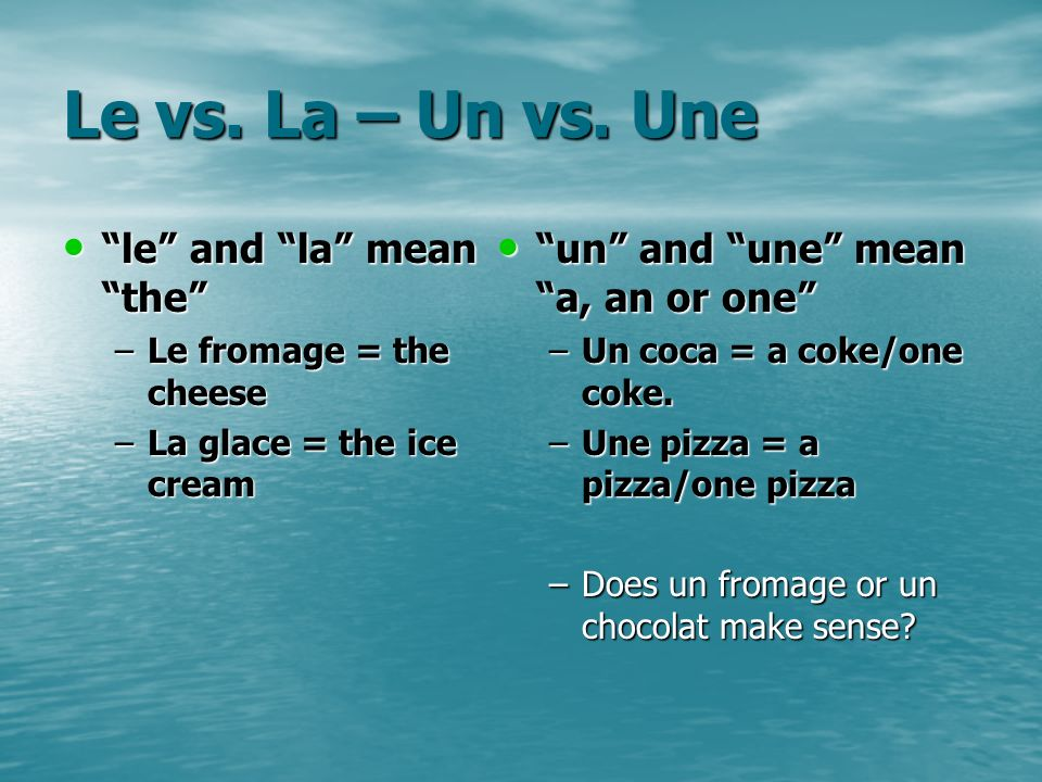 Le vs. La – Un vs. Une le and la mean the