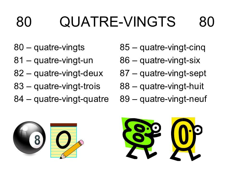 80 QUATRE-VINGTS 80 80 – quatre-vingts 81 – quatre-vingt-un