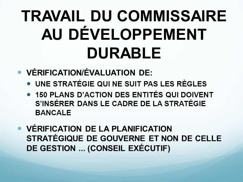 TRAVAIL DU COMMISSAIRE AU DÉVELOPPEMENT DURABLE