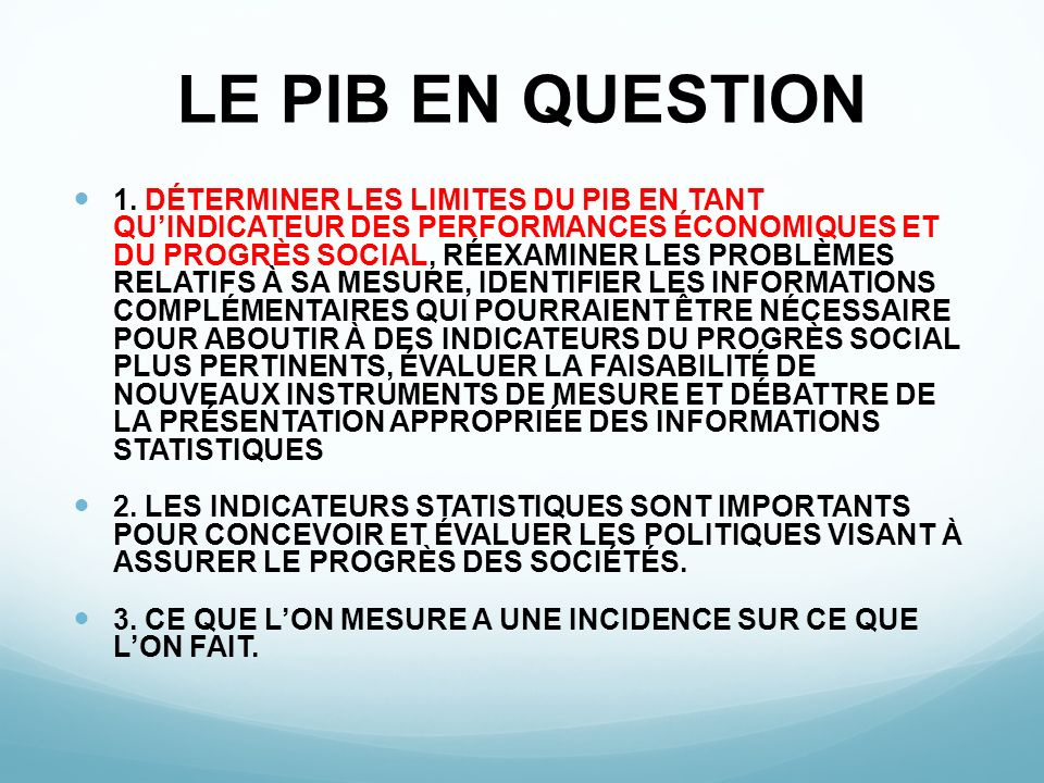 LE PIB EN QUESTION