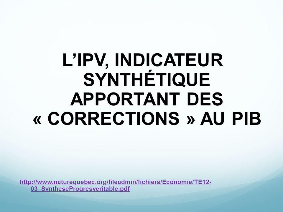L'IPV, INDICATEUR SYNTHÉTIQUE APPORTANT DES « CORRECTIONS » AU PIB