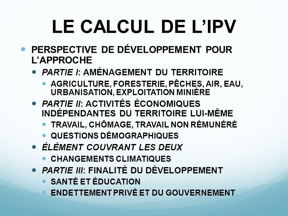 LE CALCUL DE L'IPV PERSPECTIVE DE DÉVELOPPEMENT POUR L'APPROCHE