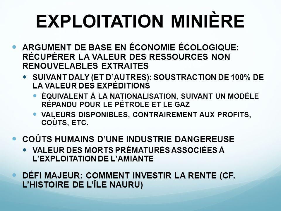 EXPLOITATION MINIÈRE ARGUMENT DE BASE EN ÉCONOMIE ÉCOLOGIQUE: RÉCUPÉRER LA VALEUR DES RESSOURCES NON RENOUVELABLES EXTRAITES.