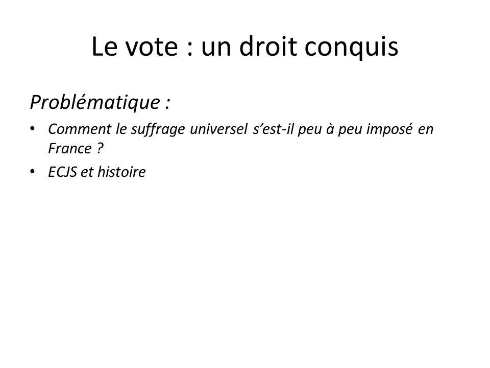Le vote : un droit conquis