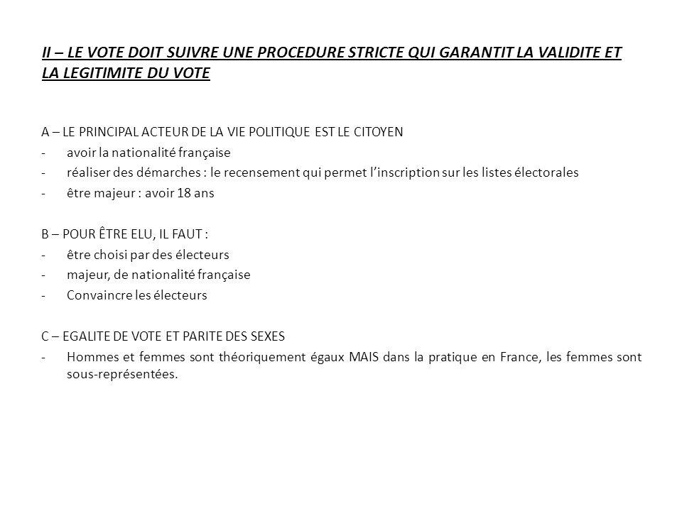 II – LE VOTE DOIT SUIVRE UNE PROCEDURE STRICTE QUI GARANTIT LA VALIDITE ET LA LEGITIMITE DU VOTE