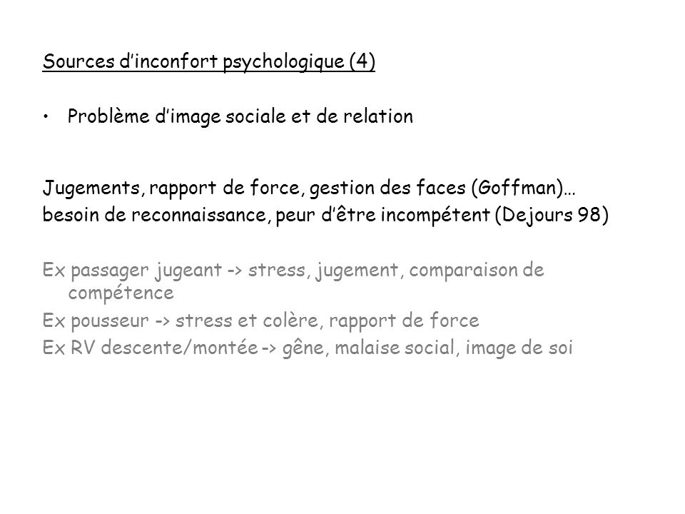 Sources d'inconfort psychologique (4)