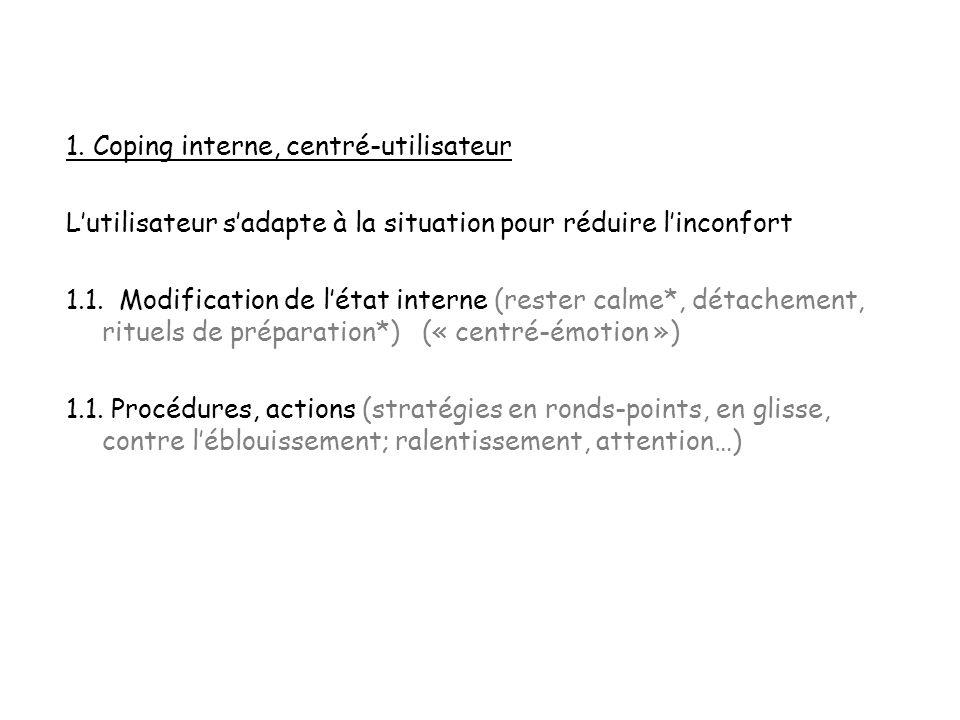1. Coping interne, centré-utilisateur