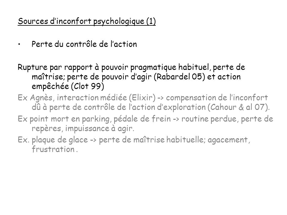 Sources d'inconfort psychologique (1)