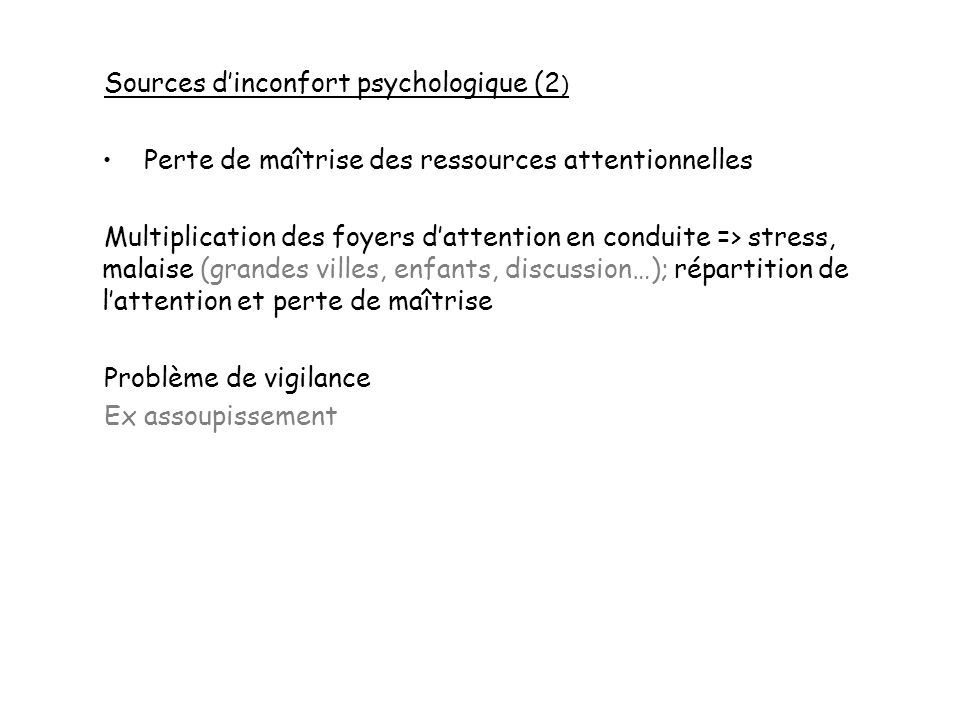Sources d'inconfort psychologique (2)