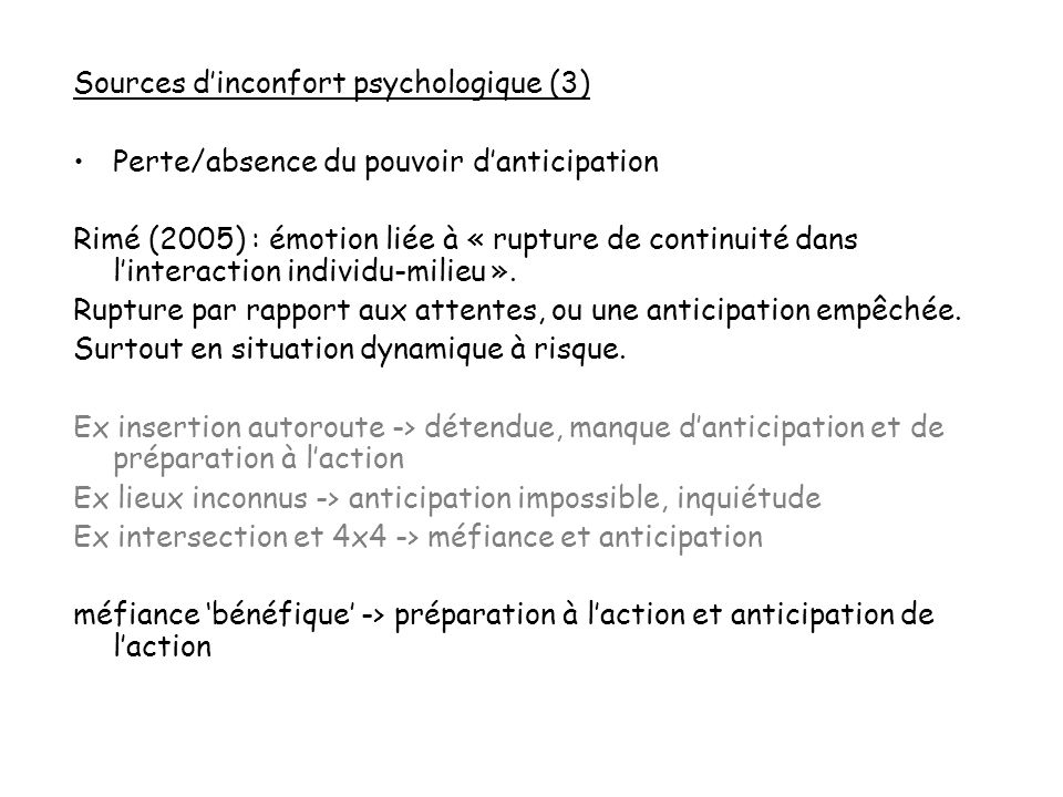 Sources d'inconfort psychologique (3)
