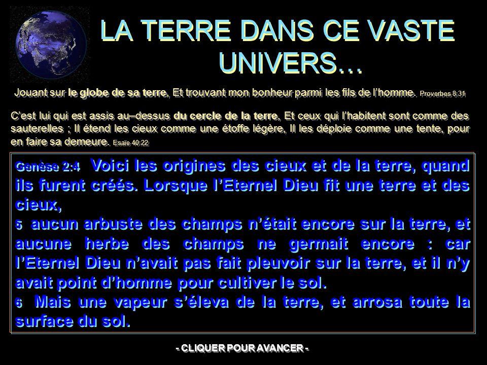 LA TERRE DANS CE VASTE UNIVERS…