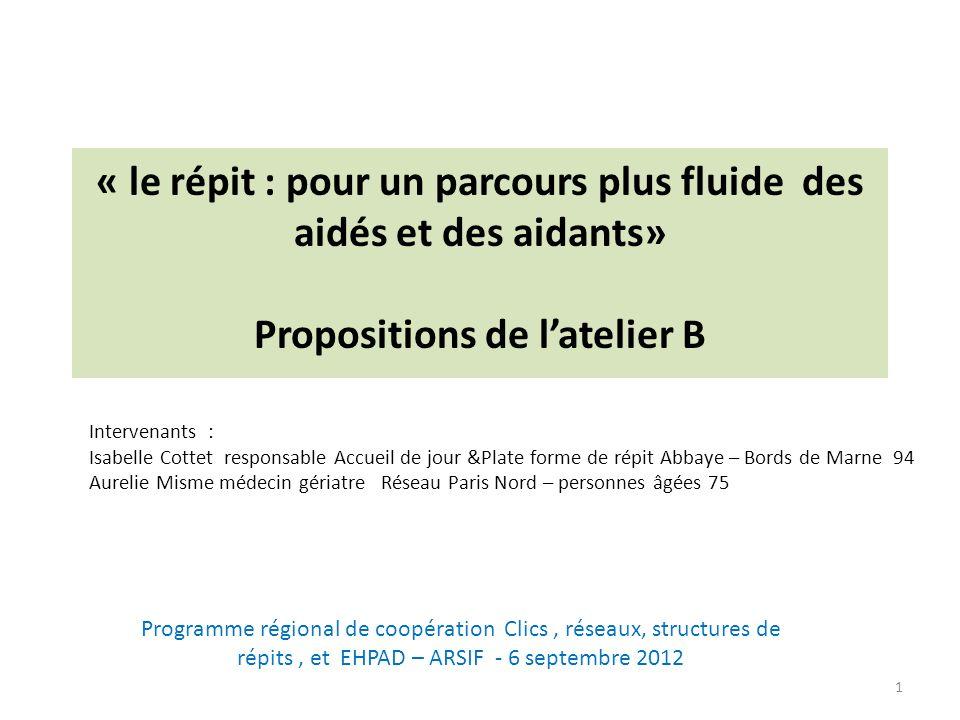 « le répit : pour un parcours plus fluide des aidés et des aidants» Propositions de l'atelier B