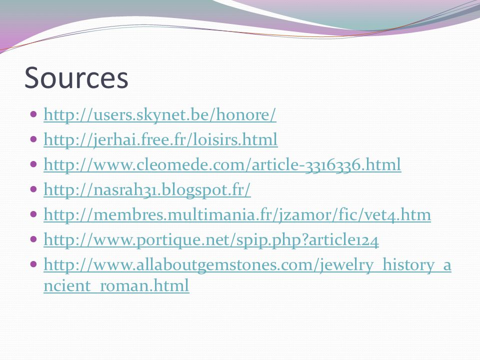 Sources http://users.skynet.be/honore/
