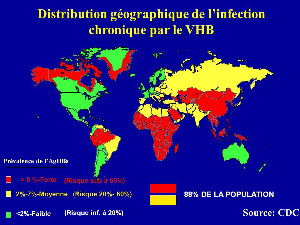 Distribution géographique de l'infection