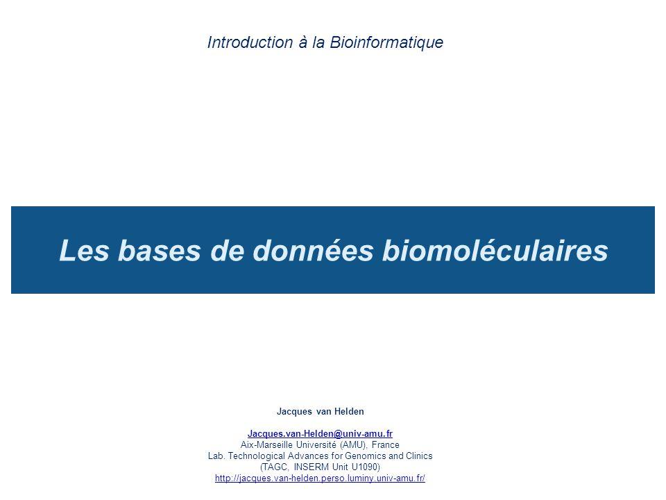 Les bases de données biomoléculaires
