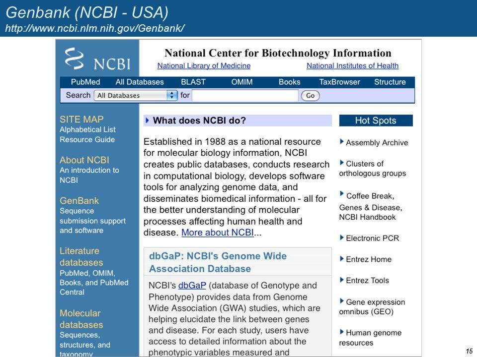 Genbank (NCBI - USA) http://www.ncbi.nlm.nih.gov/Genbank/