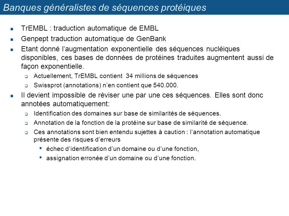 Banques généralistes de séquences protéiques