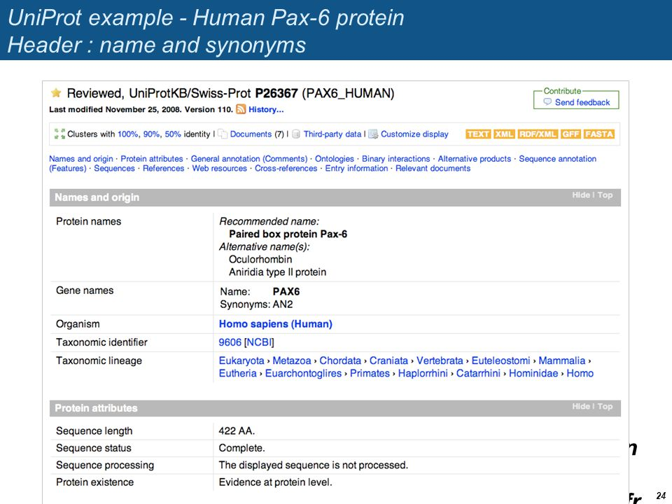 UniProt example - Human Pax-6 protein Header : name and synonyms
