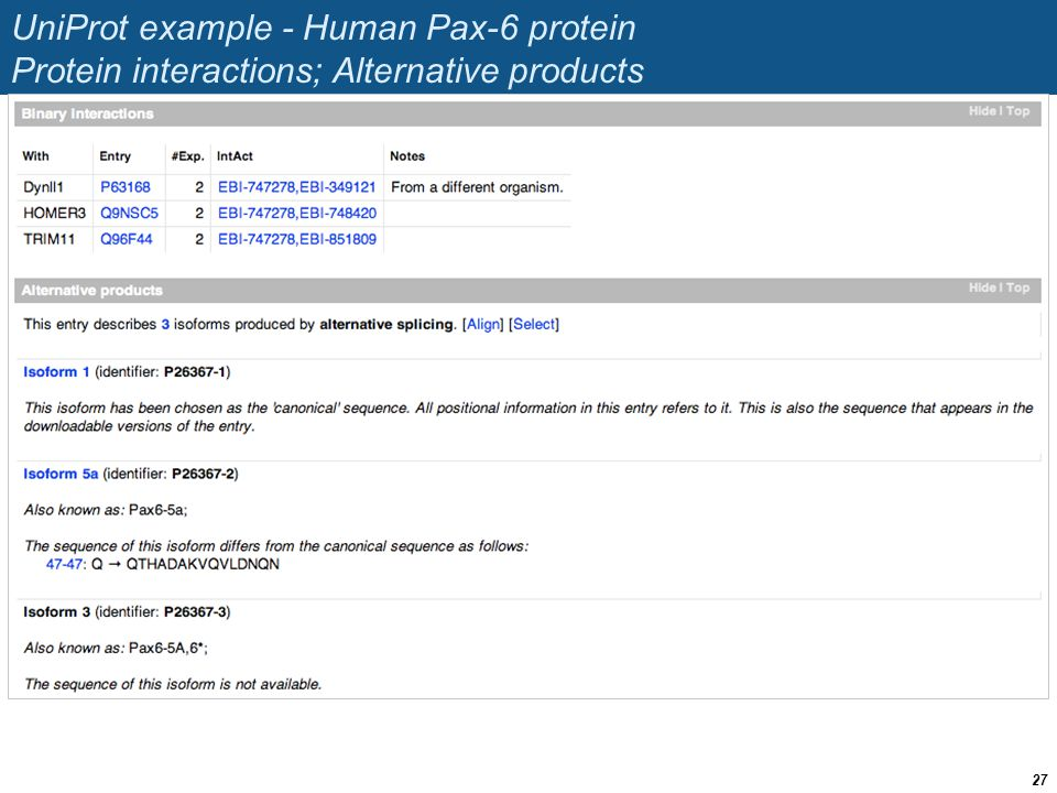 UniProt example - Human Pax-6 protein Protein interactions; Alternative products