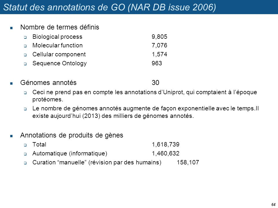 Statut des annotations de GO (NAR DB issue 2006)