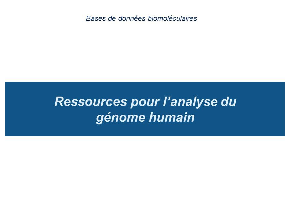 Ressources pour l'analyse du génome humain