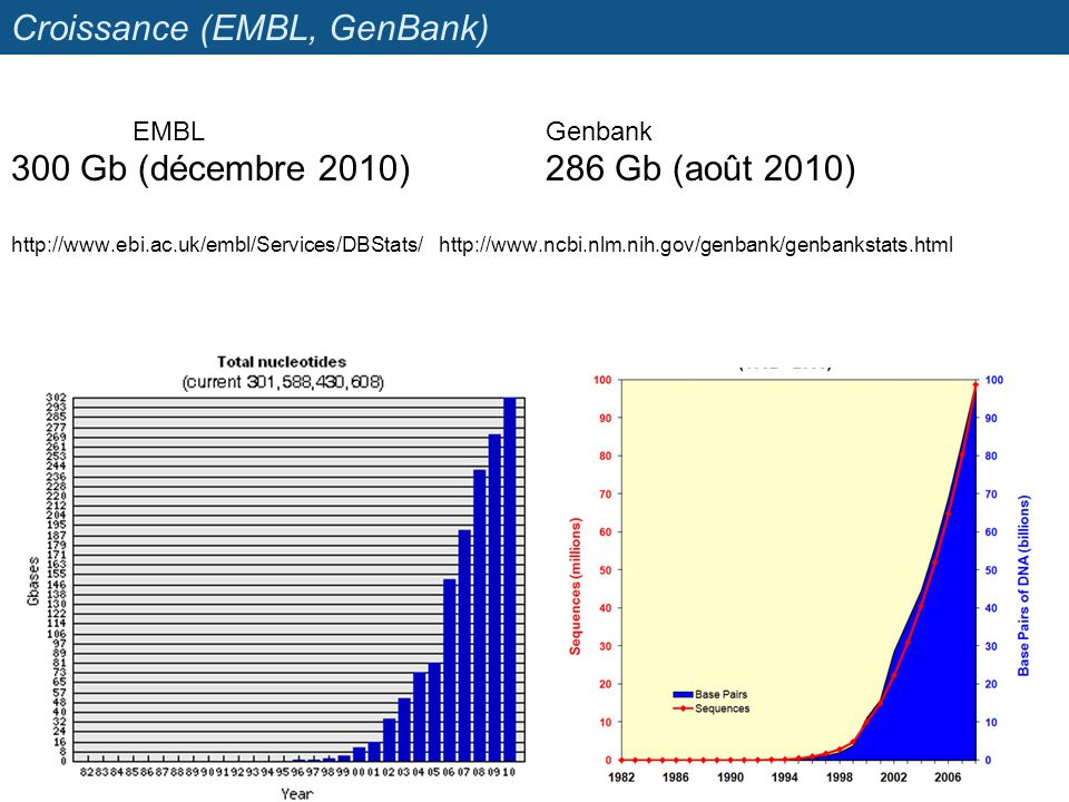 Croissance (EMBL, GenBank)