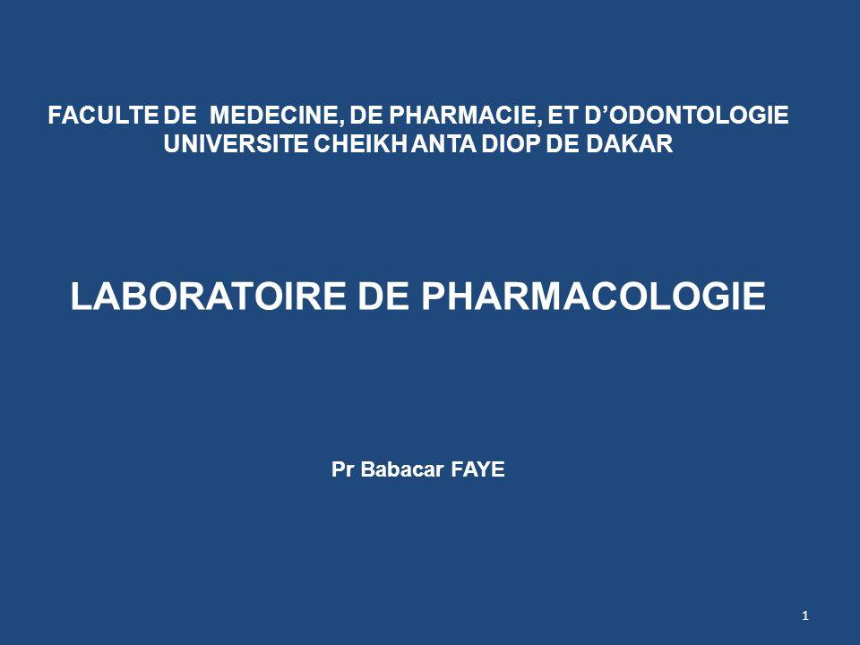 LABORATOIRE DE PHARMACOLOGIE