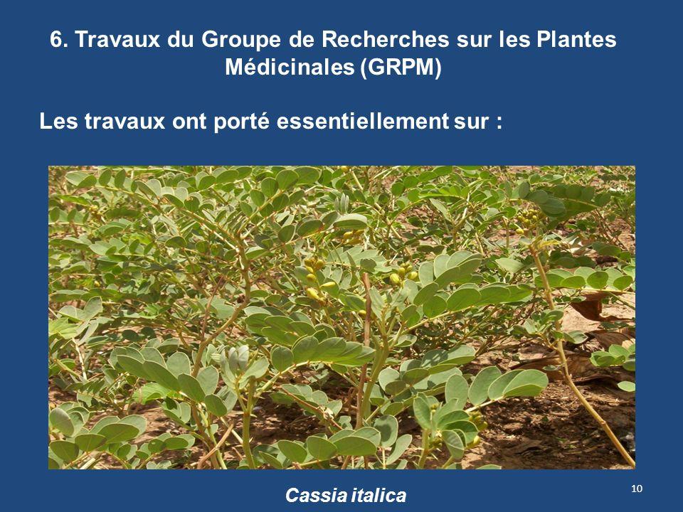 6. Travaux du Groupe de Recherches sur les Plantes Médicinales (GRPM)
