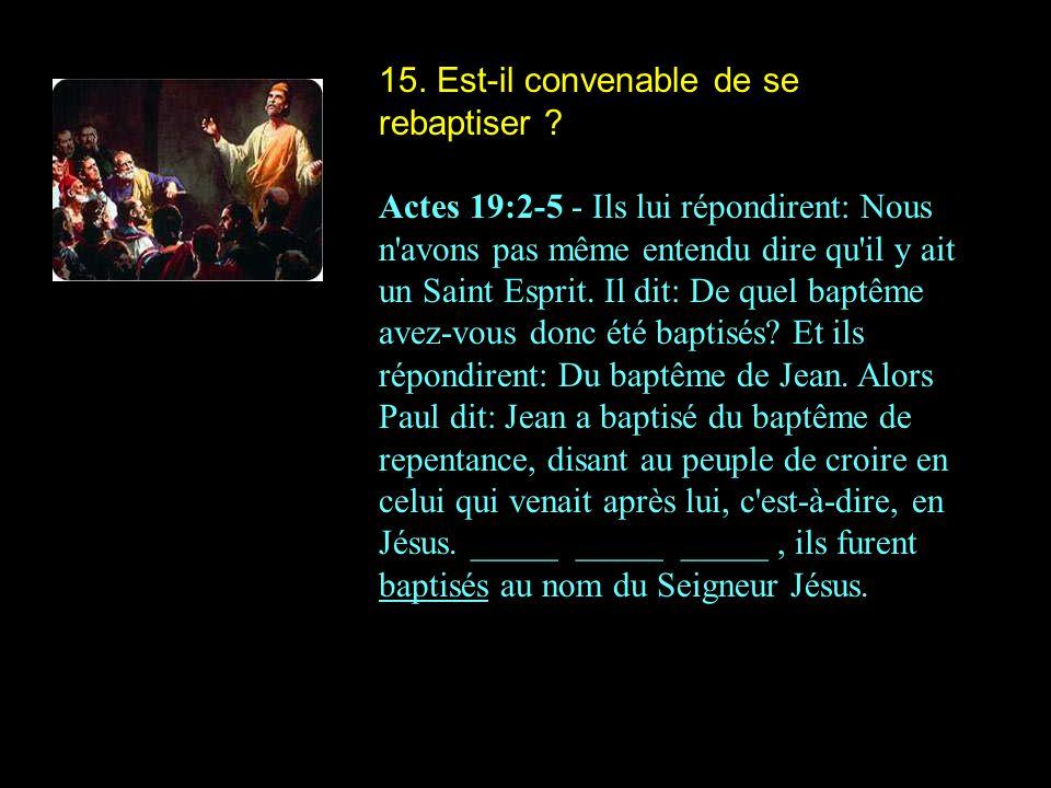 15. Est-il convenable de se rebaptiser