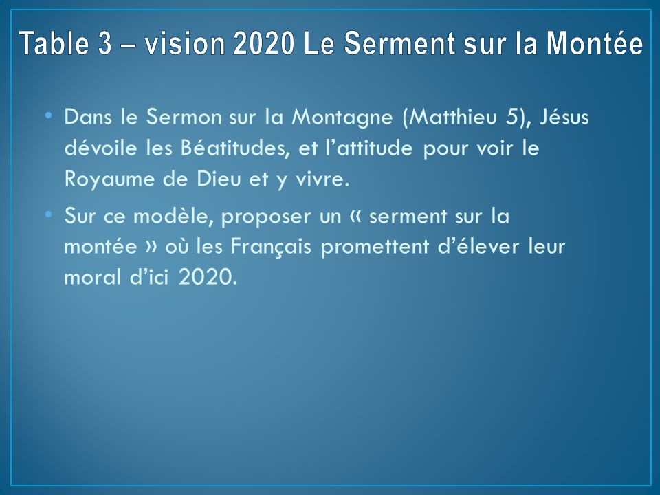 Table 3 – vision 2020 Le Serment sur la Montée