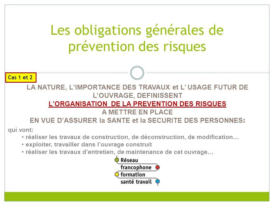 Les obligations générales de prévention des risques
