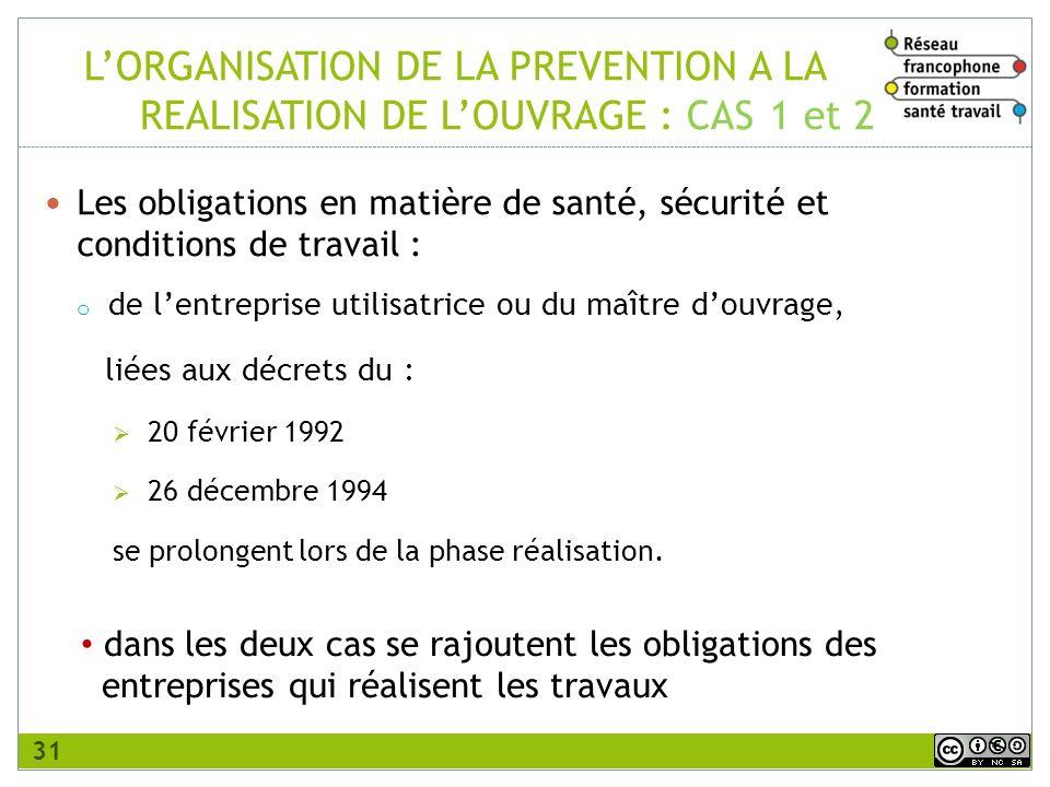 L'ORGANISATION DE LA PREVENTION A LA. REALISATION DE L'OUVRAGE : CAS