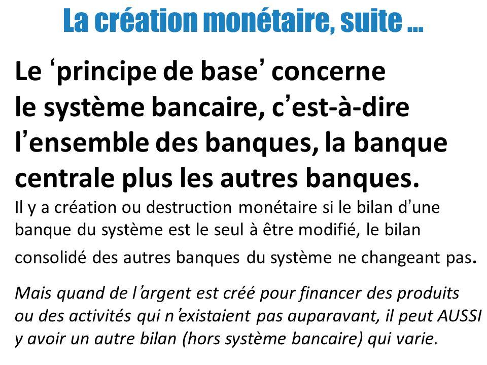 La création monétaire, suite …
