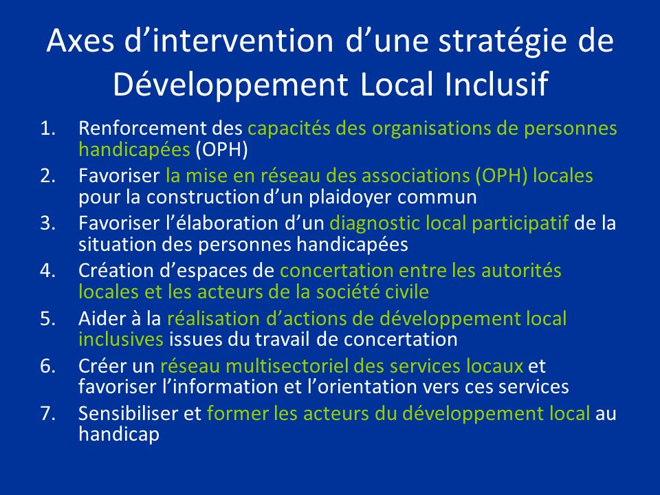 Axes d'intervention d'une stratégie de Développement Local Inclusif