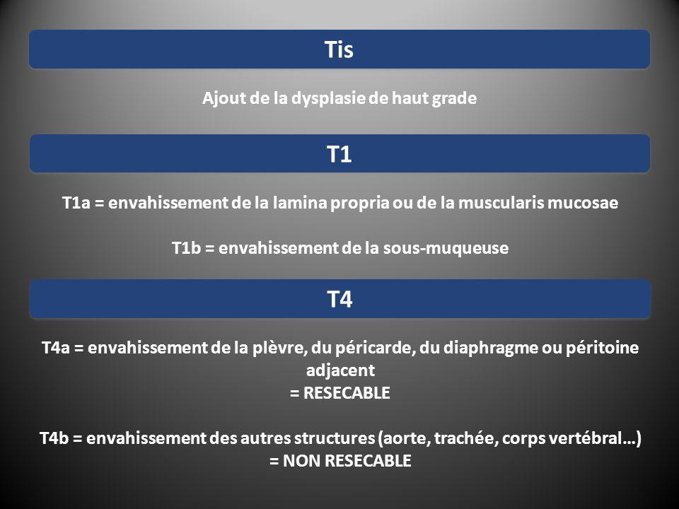 T1a = envahissement de la lamina propria ou de la muscularis mucosae