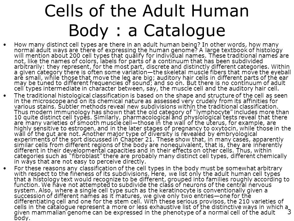 Cells of the Adult Human Body : a Catalogue