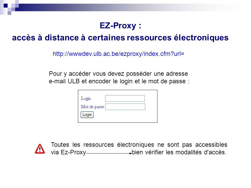 accès à distance à certaines ressources électroniques