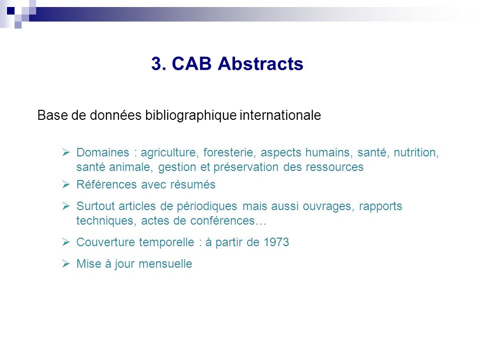 3. CAB Abstracts Base de données bibliographique internationale