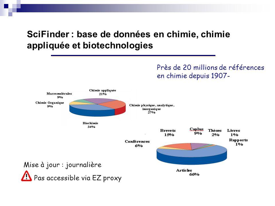 SciFinder : base de données en chimie, chimie appliquée et biotechnologies