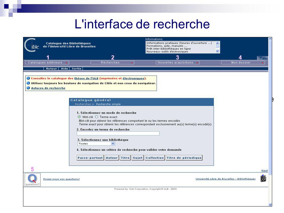 L interface de recherche