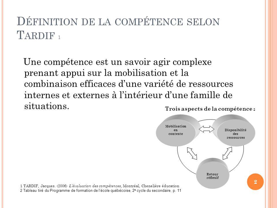 Définition de la compétence selon Tardif 1