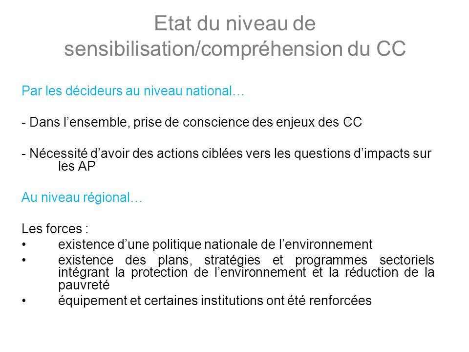Etat du niveau de sensibilisation/compréhension du CC